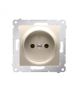 Gniazdo podjedyncze bez uziemienia z przesłonami do ramek Nature do ramek Premium (moduł) 16A 250V, zaciski śrubowe, złoty mat,