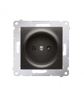 Gniazdo podjedyncze bez uziemienia z przesłonami do ramek Nature do ramek Premium (moduł) 16A 250V, zaciski śrubowe, antracyt, m