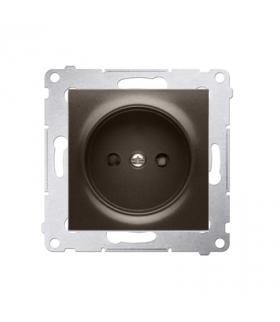 Gniazdo podjedyncze bez uziemienia z przesłonami do ramek Nature do ramek Premium (moduł) 16A 250V, zaciski śrubowe, brąz mat, m