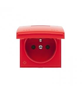 Pokrywa do gniazda z uziemieniem - do wersji IP44- klapka w kolorze pokrywy antybakteryjny czerwony DGZ1BUZP/AB22
