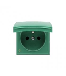 Pokrywa do gniazda z uziemieniem - do wersji IP44- klapka w kolorze pokrywy antybakteryjny zielony DGZ1BUZP/AB33