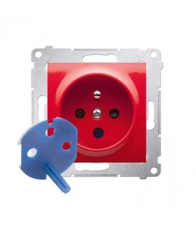 Gniazdo pojedyncze DATA z kluczem uprawniającym do ramek Nature do ramek Premium (moduł) 16A 250V, zaciski śrubowe, czerwony DGD