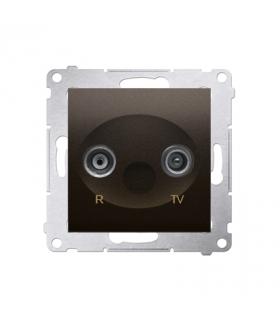 Gniazdo antenowe R-TV końcowe separowane tłum.1dB brąz mat, metalizowany DAK.01/46