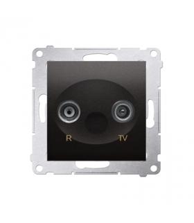 Gniazdo antenowe R-TV przelotowe tłum.10dB antracyt, metalizowany DAP10.01/48