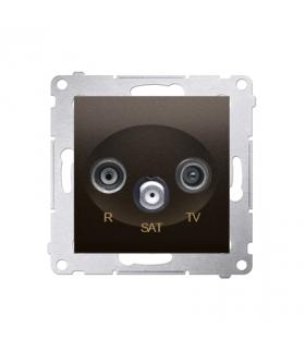 Gniazdo antenowe R-TV-SAT końcowe/zakończeniowe tłum.1dB brąz mat, metalizowany DASK.01/46