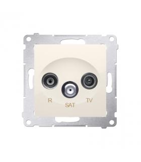 Gniazdo antenowe R-TV-SAT przelotowe tłum.10dB kremowy DASP.01/41