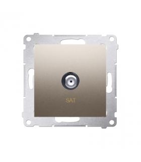 """Gniazdo antenowe typu """"F"""" pojedyncze złoty mat, metalizowany DASF1.01/44"""