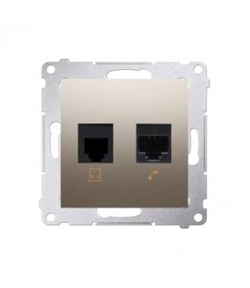 Gniazdo komputerowe RJ45 kategoria 5e + telefoniczne RJ12 (moduł) złoty mat, metalizowany D5T.01/44