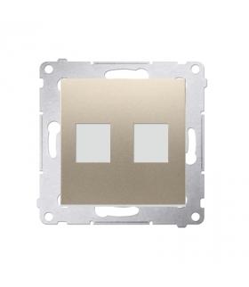 Pokrywa gniazd teleinformatycznych na Keystone płaska podwójna złoty mat, metalizowany DKP2.01/44