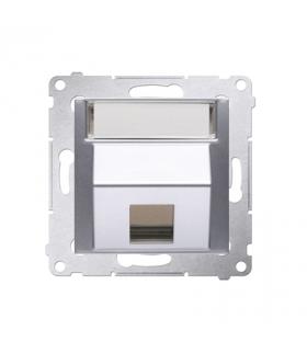 Pokrywa gniazd teleinformatycznych na Keystone skośna pojedyncza z polem opisowym srebrny mat, metalizowany DKP1S.01/43