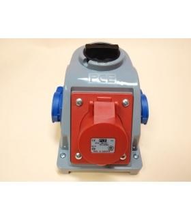 Gniazdo stałe z wyłącznikiem 0-1 16A 400V 3P+Z, 2x gniazdo 230V