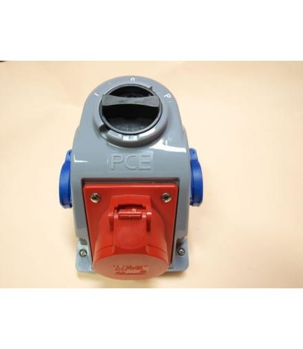 Gniazdo stałe z wyłącznikiem L-0-P 16A 400V 3P+Z, 2x gniazdo 230V