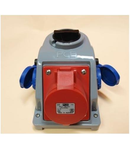 Gniazdo stałe z wyłącznikiem 0-1 32A 400V 3P+Z+N, 2x gniazdo 230V