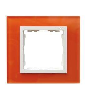 Ramka 1-krotna szklana mandarynka / biała 82617-65