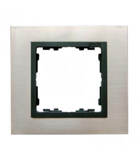 Ramka 1- krotna stal inox / grafit 82817-37