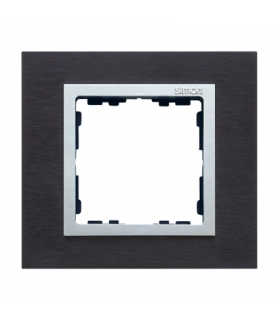 Ramka 1- krotna metalowa inox czarny / aluminium 82917-38