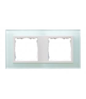 Ramka 2- krotna szklana naturalny / biała 82627-60