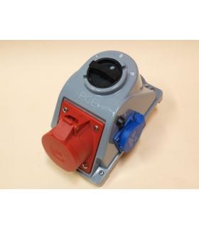 Gniazdo stałe z wyłącznikiem L-0-P 32A 400V 3P+Z, gniazdo 230V