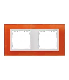 Ramka 2- krotna szklana mandarynka / biała 82627-65