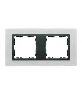 Ramka 2- krotna metalowa inox mat / grafit 82827-31