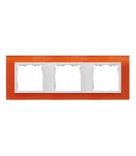 Ramka 3- krotna szklana mandarynka / biała 82637-65