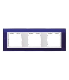 Ramka 3- krotna szklana morski / biała 82637-64