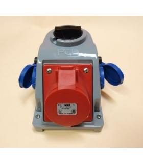 Gniazdo stałe z wyłącznikiem 0-1 32A 400V 3P+Z, 2x gniazdo 230V