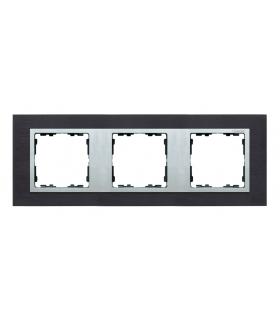 Ramka 3- krotna metalowa inox czarny / aluminium 82937-38