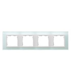 Ramka 4- krotna szklana naturalny / biała 82647-60