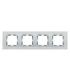 Ramka 4- krotna metalowa inox mat / aluminium 82947-34