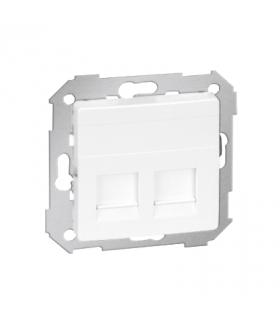 Pokrywa gniazd teleinformatycznych na Keystone płaska podwójna biały 82006-30