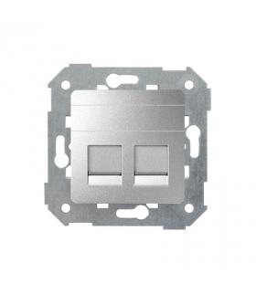 Pokrywa gniazd teleinformatycznych na Keystone płaska podwójna aluminium 82006-93