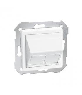 Pokrywa gniazd teleinformatycznych na Keystone skośna pojedyncza lub podwójna biały 82579-30