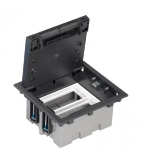 Puszka podłogowa SF prostokątna 4×K45 2×CIMA 93mm÷128mm szary grafit SF210/14