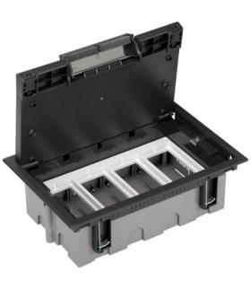 Puszka podłogowa SF prostokątna 8×K45 4×CIMA 93mm÷128mm szary grafit SF410/14