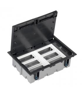 Puszka podłogowa SF prostokątna 12×K45 6×CIMA 93mm÷128mm szary grafit SF610/14