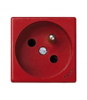 Gniazdo wtyczkowe pojedyncze K45 z bolcem uziemiającym z sygnalizacją napięcia 16A 250V zaciski śrubowe 45×45mm czerwony KL02/6