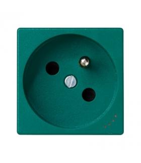 Gniazdo wtyczkowe pojedyncze K45 z bolcem uziemiającym z sygnalizacją napięcia 16A 250V zaciski śrubowe 45×45mm zielony KL02/27