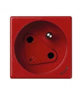 Gniazdo wtyczkowe pojedyncze K45 DATA z bolcem uziemiającym z sygnalizacją napięcia 16A 250V zaciski śrubowe 45×45mm czerwony KL