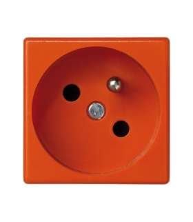 Gniazdo wtyczkowe pojedyncze K45 z bolcem uziemiającym 16A 250V szybkozłącza 45×45mm pomarańczowy K22/7