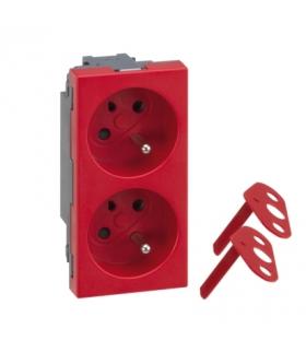 Gniazdo podwójne SIMON 500 DATA z bolcem uziemiającym 16A 250V szybkozłącza/zaciski śrubowe 100×50mm czerwony 50000459-037