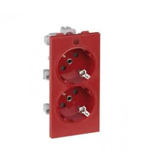 Gniazdo podwójne CIMA SCHUKO z sygnalizacją napięcia 16A 250V zaciski śrubowe 108×52mm czerwony S1/6