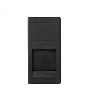 Plakietka teleinformatyczna K45 keystone pojedyncza płaska uniwersalna z osłoną 45×22,5mm szary grafit KA76/14