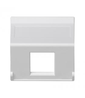 Plakietka teleinformatyczna K45 do adapterów MD pojedyncza bez osłon skośna 45×45mm czysta biel K080/9