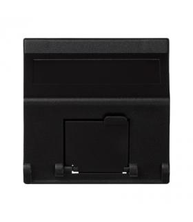 Plakietka teleinformatyczna K45 do adapterów MD pojedyncza skośna z osłonami 45×45mm szary grafit K80/14