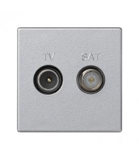 Gniazdo antenowe K45 TV-SAT częstotliowść5MHz÷2400MHz 45×45mm aluminium K130A/8