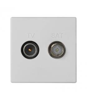 Gniazdo antenowe K45 TV-SAT częstotliowść5MHz÷2400MHz 45×45mm czysta biel K130A/9