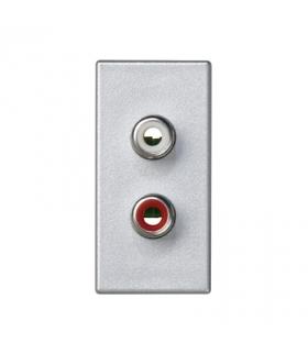 Płytka K45 złącza 2× RCA (CINCH) 45×22,5mm aluminium K101B/8