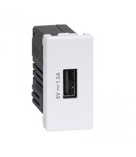 Ładowarka USB K45 USB 2.0 - A 5V DC 2,1A 45×22,5mm czysta biel K126C/9