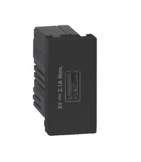 Ładowarka USB K45 USB 2.0 - A 5V DC 2,1A 45×22,5mm grafit K126D/14